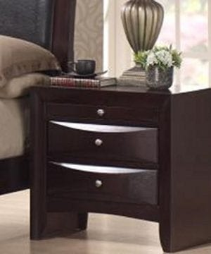 Skyline 2 Drawer Nightstand With A Rich Merlot Finish Made With Hardwood And Wood Veneers Brushed Silver Handles 0 300x360