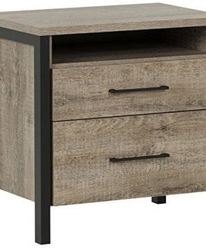 South Shore Munich 2 Drawer Nightstand Weathered Oak And Matte Black With Metal Handles 0 300x360