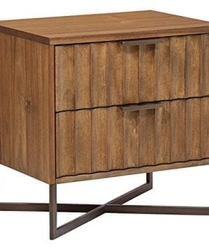 Stone Beam Mid Century Modern Wood Nightstand 24 Brown Metal Base 0 300x360