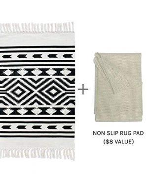 Styled World Cotton Boho Rug With Rug Pad 2x3 Printed Bohemian Throw Rug With Tassels Bathroom Entryway Kitchen Laundry Room BlackCream Rhombus 0 0 300x360