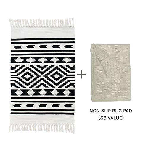 Styled World Cotton Boho Rug With Rug Pad 2x3 Printed Bohemian Throw Rug With Tassels Bathroom Entryway Kitchen Laundry Room BlackCream Rhombus 0 0