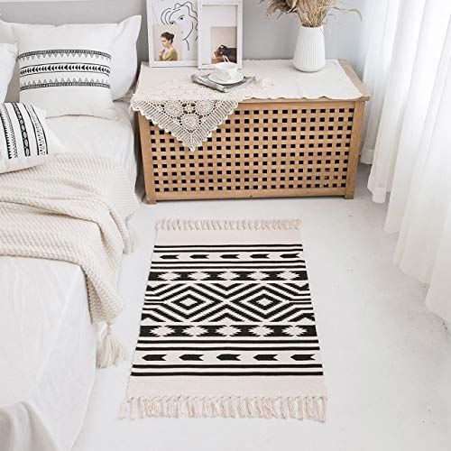 Styled World Cotton Boho Rug With Rug Pad 2x3 Printed Bohemian Throw Rug With Tassels Bathroom Entryway Kitchen Laundry Room BlackCream Rhombus 0 1