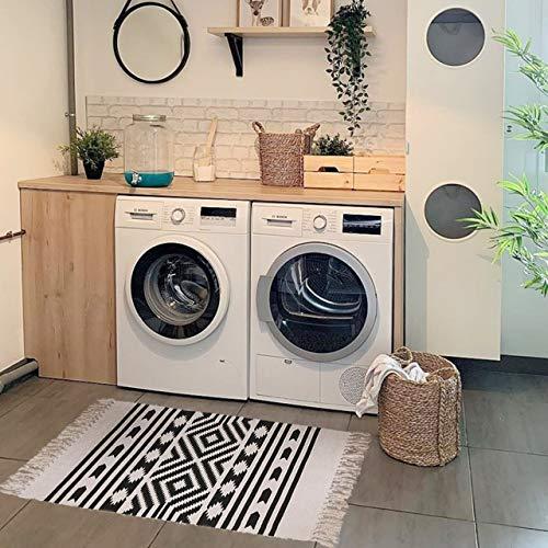 Styled World Cotton Boho Rug With Rug Pad 2x3 Printed Bohemian Throw Rug With Tassels Bathroom Entryway Kitchen Laundry Room BlackCream Rhombus 0 2