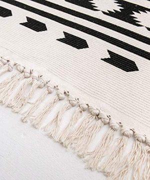 Styled World Cotton Boho Rug With Rug Pad 2x3 Printed Bohemian Throw Rug With Tassels Bathroom Entryway Kitchen Laundry Room BlackCream Rhombus 0 3 300x360