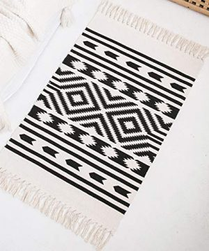 Styled World Cotton Boho Rug With Rug Pad 2x3 Printed Bohemian Throw Rug With Tassels Bathroom Entryway Kitchen Laundry Room BlackCream Rhombus 0 300x360