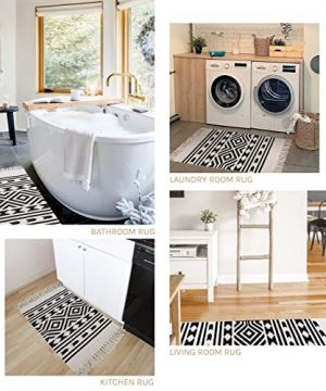 Styled World Cotton Boho Rug With Rug Pad 2x3 Printed Bohemian Throw Rug With Tassels Bathroom Entryway Kitchen Laundry Room BlackCream Rhombus 0 4 300x360