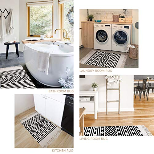 Styled World Cotton Boho Rug With Rug Pad 2x3 Printed Bohemian Throw Rug With Tassels Bathroom Entryway Kitchen Laundry Room BlackCream Rhombus 0 4