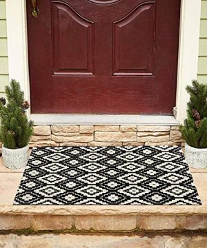 Sungea Moroccan Geometric Diamond Trellis Area Rug 24x35 Cotton Small Throw Rug Black Lattice Shoes Off Doormat IndoorOutdoor Modern Floor Carpet For Entryway Front Porch Kitchen Black 2 X 3 0 300x360