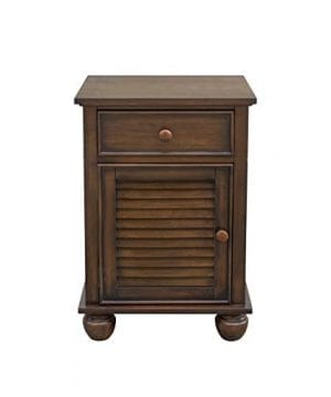 Sunset Trading Bahama Shutter Wood Nightstand Felt Lined Drawer Cabinet With Shelf Tropical Walnut 0 300x360