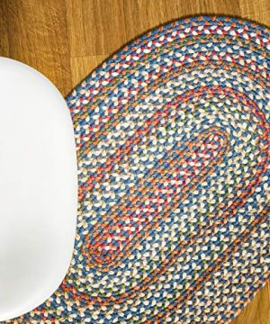 Super Area Rugs American Made Braided Rug For Indoor Outdoor Spaces BlueNatural Multi Colored 2 X 3 Oval 0 0 300x360