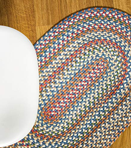 Super Area Rugs American Made Braided Rug For Indoor Outdoor Spaces BlueNatural Multi Colored 2 X 3 Oval 0 0
