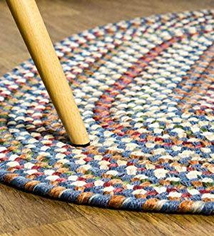 Super Area Rugs American Made Braided Rug For Indoor Outdoor Spaces BlueNatural Multi Colored 2 X 3 Oval 0 1 300x331