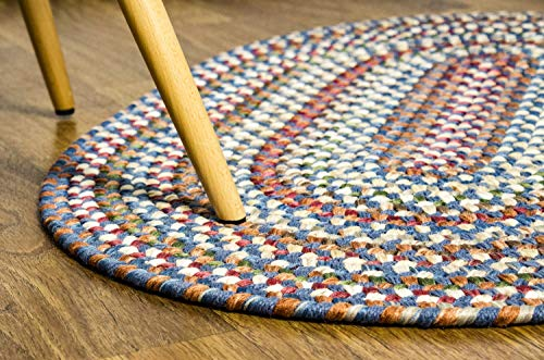 Super Area Rugs American Made Braided Rug For Indoor Outdoor Spaces BlueNatural Multi Colored 2 X 3 Oval 0 1