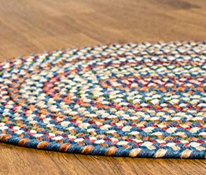 Super Area Rugs American Made Braided Rug For Indoor Outdoor Spaces BlueNatural Multi Colored 2 X 3 Oval 0 2 300x255