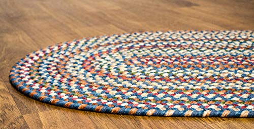 Super Area Rugs American Made Braided Rug For Indoor Outdoor Spaces BlueNatural Multi Colored 2 X 3 Oval 0 2