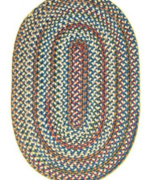 Super Area Rugs American Made Braided Rug For Indoor Outdoor Spaces BlueNatural Multi Colored 2 X 3 Oval 0 3 300x360