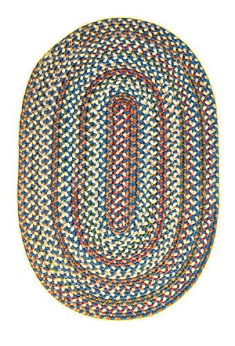 Super Area Rugs American Made Braided Rug For Indoor Outdoor Spaces BlueNatural Multi Colored 2 X 3 Oval 0 3