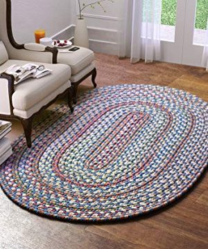 Super Area Rugs American Made Braided Rug For Indoor Outdoor Spaces BlueNatural Multi Colored 2 X 3 Oval 0 300x360
