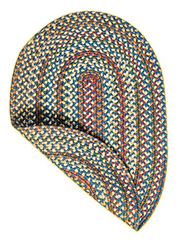 Super Area Rugs American Made Braided Rug For Indoor Outdoor Spaces BlueNatural Multi Colored 2 X 3 Oval 0 4