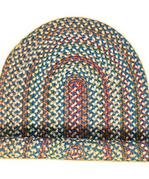 Super Area Rugs American Made Braided Rug For Indoor Outdoor Spaces BlueNatural Multi Colored 2 X 3 Oval 0 5 300x360