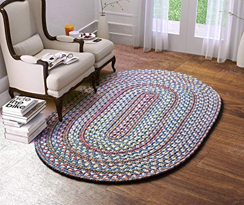 Super Area Rugs American Made Braided Rug For Indoor Outdoor Spaces BlueNatural Multi Colored 2 X 3 Oval 0