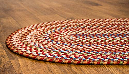 Super Area Rugs American Made Braided Rug For Indoor Outdoor Spaces RedNatural Multi Colored 2 X 3 Oval 0 2