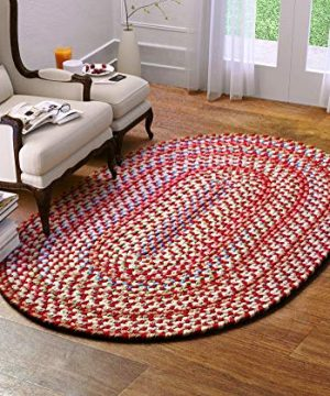 Super Area Rugs American Made Braided Rug For Indoor Outdoor Spaces RedNatural Multi Colored 2 X 3 Oval 0 300x360