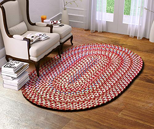 Super Area Rugs American Made Braided Rug For Indoor Outdoor Spaces RedNatural Multi Colored 2 X 3 Oval 0