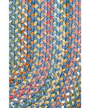Super Area Rugs Gemstone Textured Braided Rug IndoorOutdoor Rug Durable Blue Kitchen Carpet 2 X 3 Oval 0 0 300x360