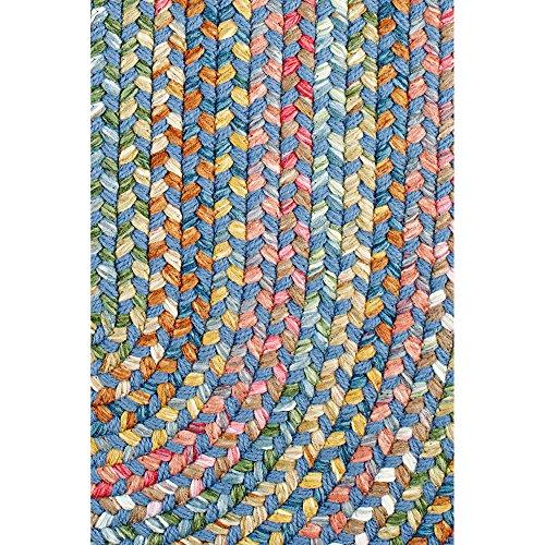 Super Area Rugs Gemstone Textured Braided Rug IndoorOutdoor Rug Durable Blue Kitchen Carpet 2 X 3 Oval 0 0