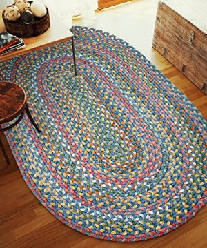 Super Area Rugs Gemstone Textured Braided Rug IndoorOutdoor Rug Durable Blue Kitchen Carpet 2 X 3 Oval 0 1 300x360