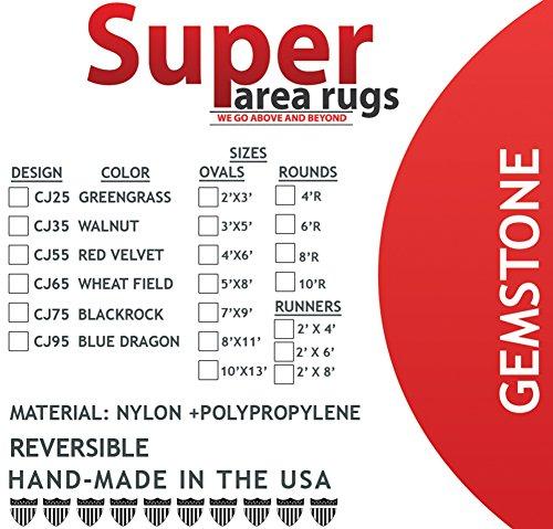 Super Area Rugs Gemstone Textured Braided Rug IndoorOutdoor Rug Durable Blue Kitchen Carpet 2 X 3 Oval 0 2