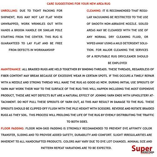 Super Area Rugs Gemstone Textured Braided Rug IndoorOutdoor Rug Durable Blue Kitchen Carpet 2 X 3 Oval 0 3