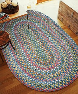 Super Area Rugs Gemstone Textured Braided Rug IndoorOutdoor Rug Durable Blue Kitchen Carpet 2 X 3 Oval 0 4 300x360
