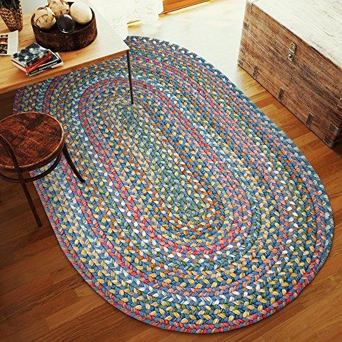 Super Area Rugs Gemstone Textured Braided Rug IndoorOutdoor Rug Durable Blue Kitchen Carpet 2 X 3 Oval 0 4