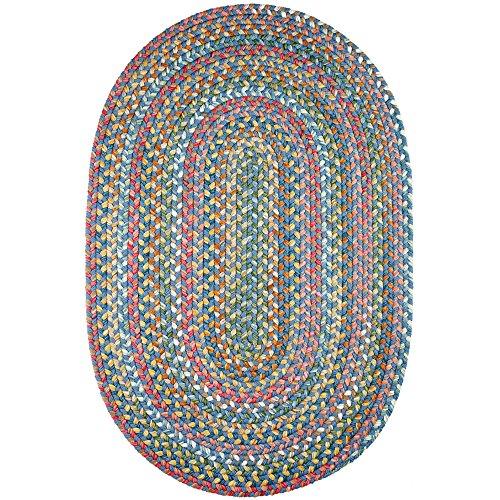 Super Area Rugs Gemstone Textured Braided Rug IndoorOutdoor Rug Durable Blue Kitchen Carpet 2 X 3 Oval 0