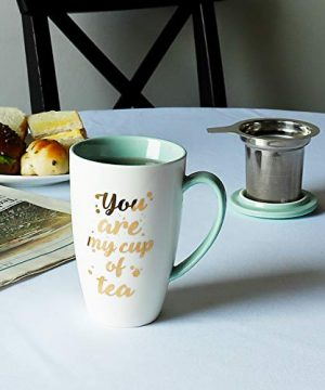 Sweese 201210 Porcelain Tea Mug With Infuser And Lid You Are My Cup Of Tea 15 OZ Mint Green 0 0 300x360