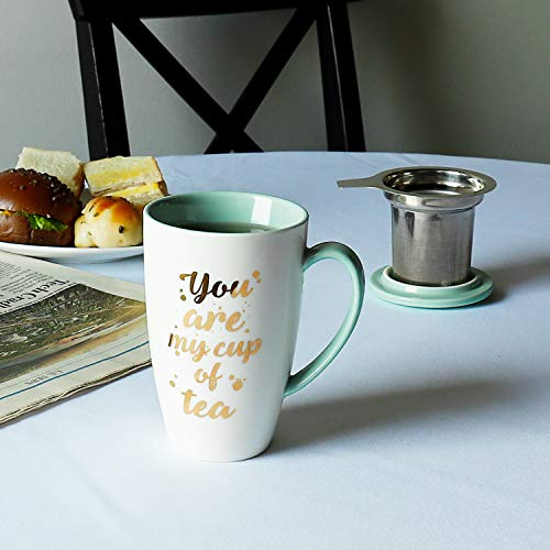 Sweese 201210 Porcelain Tea Mug With Infuser And Lid You Are My Cup Of Tea 15 OZ Mint Green 0 0