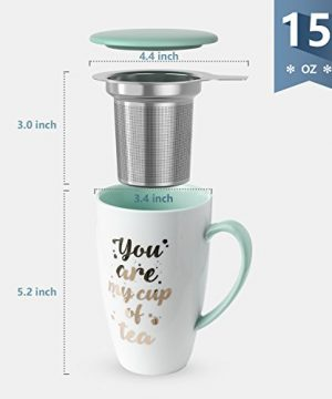 Sweese 201210 Porcelain Tea Mug With Infuser And Lid You Are My Cup Of Tea 15 OZ Mint Green 0 1 300x360