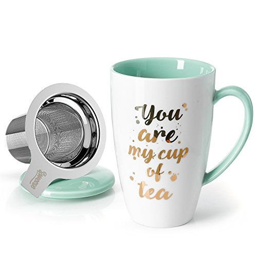 Sweese 201210 Porcelain Tea Mug With Infuser And Lid You Are My Cup Of Tea 15 OZ Mint Green 0
