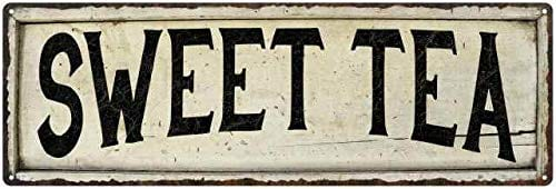 Sweet Tea Sign Farmhouse Decor Country Decorations Wood Look Signs Wall Art Tin Plaque 8 X 24 Matte Finish Metal 108240028280 0