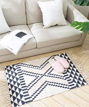 Tassels Bathroom Rug Morocco Kitchen Rug With Geometric Triangles 2x3 Small Cute Throw Rug For Living Room Bedroom Laundry Navy 0 300x360