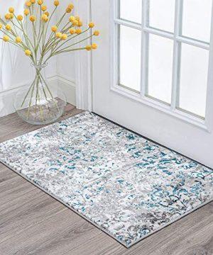 Tayse Kathryn Blue 2x3 Scatter Mat Area Rug For Hallway Walkway Entryway Or Foyer Transitional Damask 0 300x360