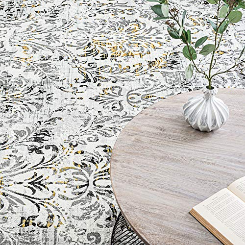 Tayse Kathryn Yellow 2x3 Scatter Mat Area Rug For Hallway Walkway Entryway Or Foyer Transitional Damask 0 3