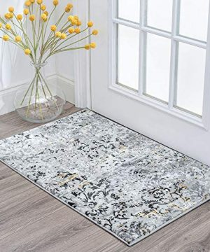 Tayse Kathryn Yellow 2x3 Scatter Mat Area Rug For Hallway Walkway Entryway Or Foyer Transitional Damask 0 300x360