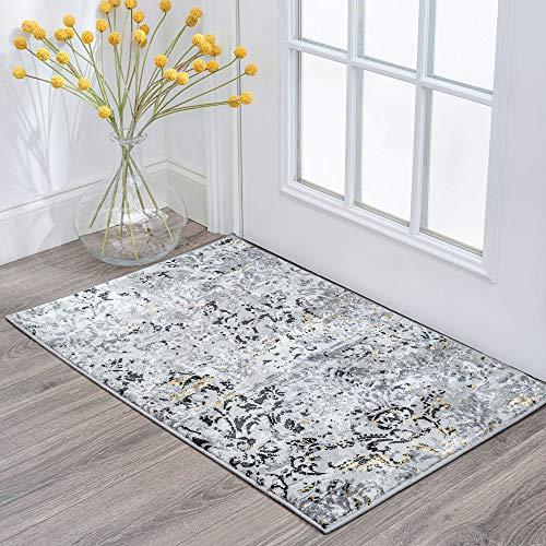 Tayse Kathryn Yellow 2x3 Scatter Mat Area Rug For Hallway Walkway Entryway Or Foyer Transitional Damask 0