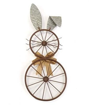 The Lakeside Collection Bunny Bicycle Wheel Wall Hanging Galvanized Vintage Easter Decoration 0 300x360