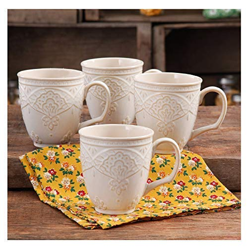 The Pioneer Woman Farmhouse Lace Mug Set 4 Pack Off White 0 0