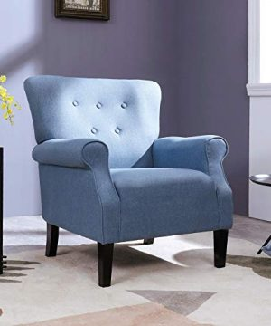 Top Space Accent Chair Sofa Mid Century Upholstered Roy Arm Single Sofa Modern Comfy Furniture For Living RoomBedroomClubOffice 2 PCsBlue 0 0 300x360