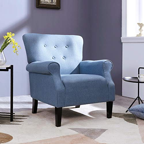 Top Space Accent Chair Sofa Mid Century Upholstered Roy Arm Single Sofa Modern Comfy Furniture For Living RoomBedroomClubOffice 2 PCsBlue 0 0